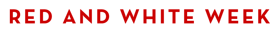 Horizontal red and white week logo