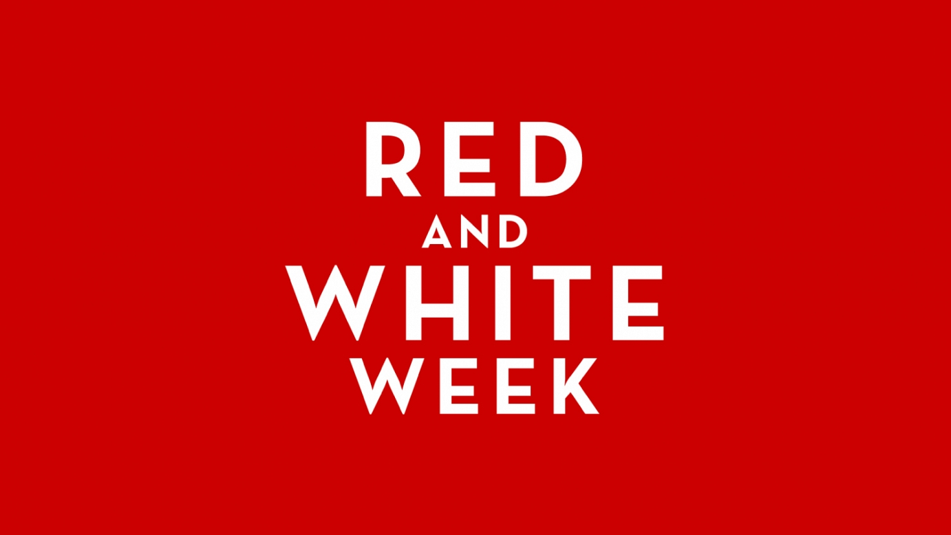 16x9 Red and White Week Power Point template