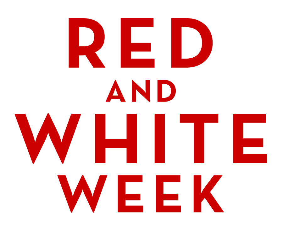Vertical red and white week logo