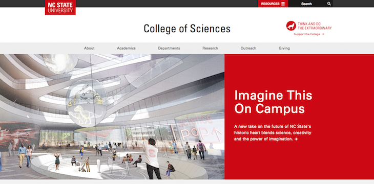 Example of campaign sticker integration on the College of Sciences website