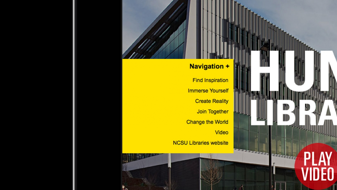 Screencap of the Hunt Library site's yellow navigation