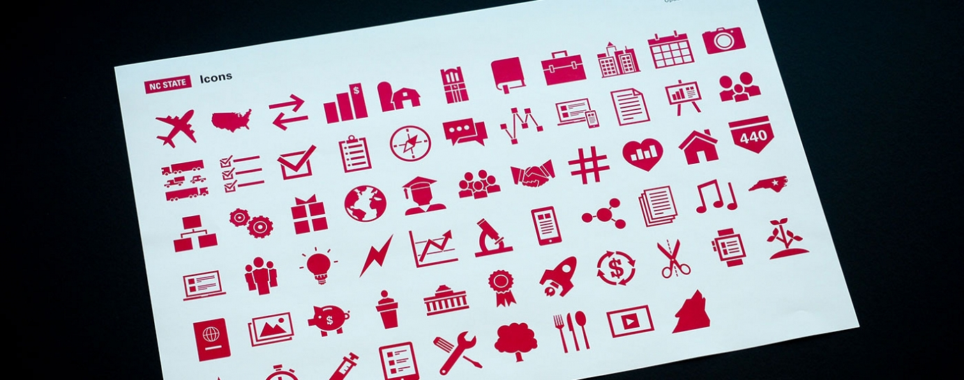 A sample collection of NC State branded icons