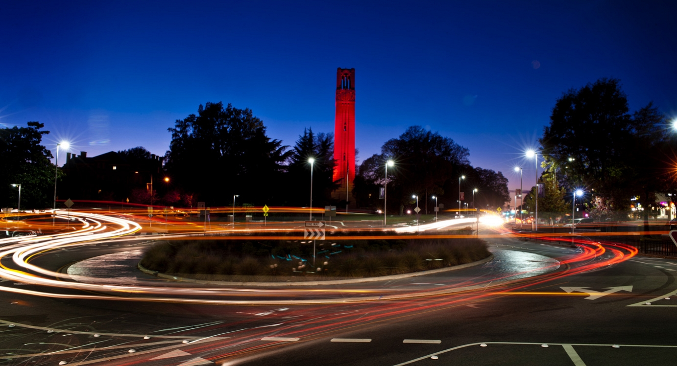 Timelapse photo of the Belltower at night