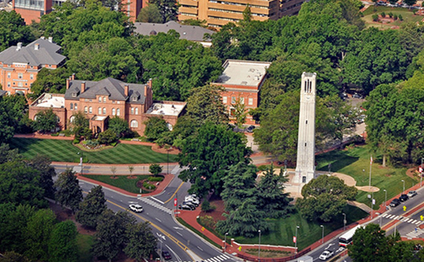 Aerial view of Holiday Hall and the Belltower