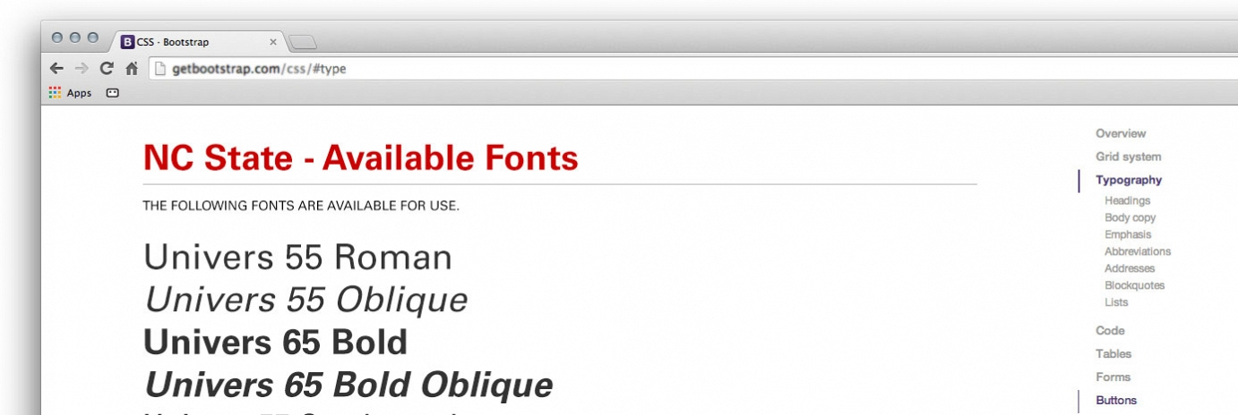 Screen grab of available fonts